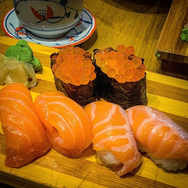 """They call this """"Salmon Sushi Overload"""" for $18.80++ the taste was alright, but price was a tad high for 6 pieces of sushi"""