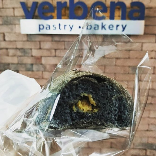 Getting our hands on the legendary sweet potato bread and fresh fruits timbale (cake) from Verbena Bakery in Sutera Mall.