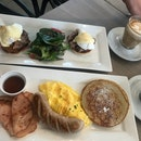 Steak benedict $16.90 and Breakfast platter $16.50
