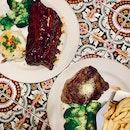 Top-Left: Full Rack Honey Chipotle Baby Ribs ($45.95) // Bottom-Right: 200g Classic Ribeye Steak ($43.95)
