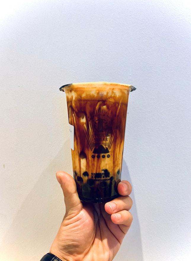 Brown Sugar Boba Milk with Cream Mousse ($5.60)
