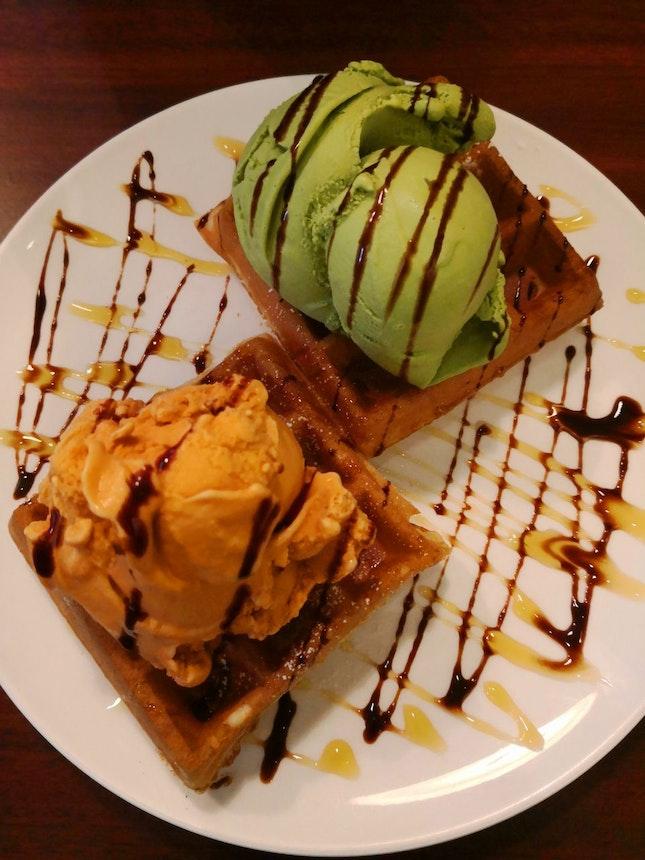 Ice Cream With Waffles
