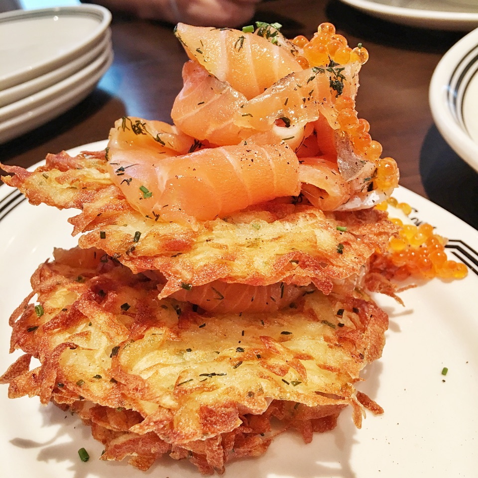 Smoked Salmon Latkes With Salmon Pearls ($16+$5)