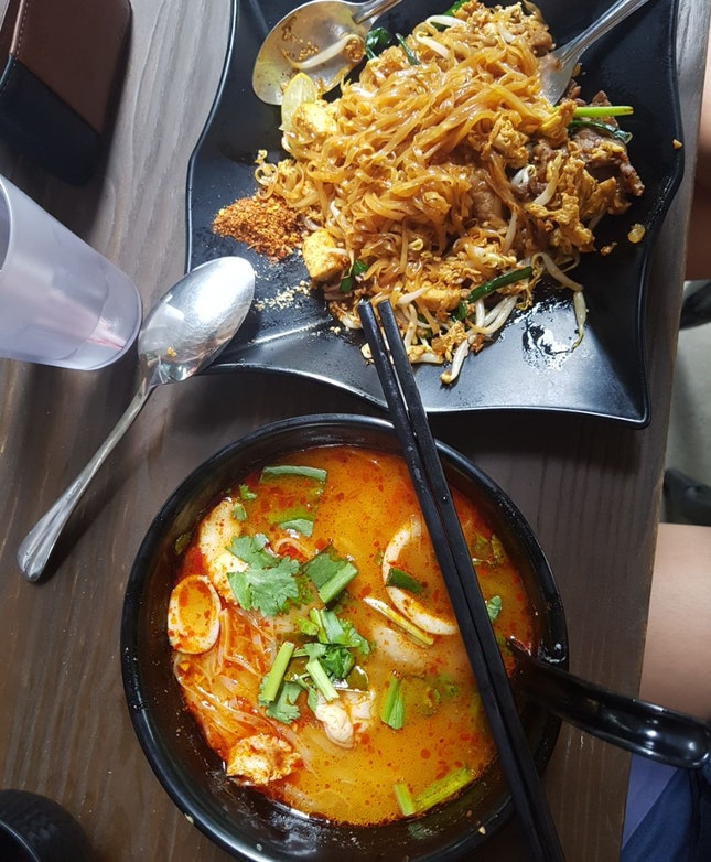 Tom Yum Noodles ($7) And Phad Thai ($7)