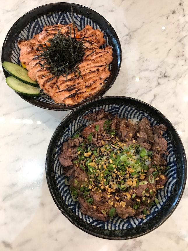 Truffle Beef Bowl & Salmon Mentaiko ($13.90, $16.90)
