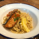 Grilled Salmon With Aglio Olio ($21)