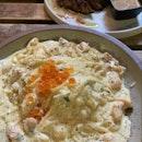 Miso Salmon Carbonara, Ribeye Steak ($21 each)