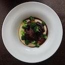 Braised beef cheek in red wine and mushroom.