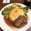 Omu' Rice & Angus Beef Steak with Salad