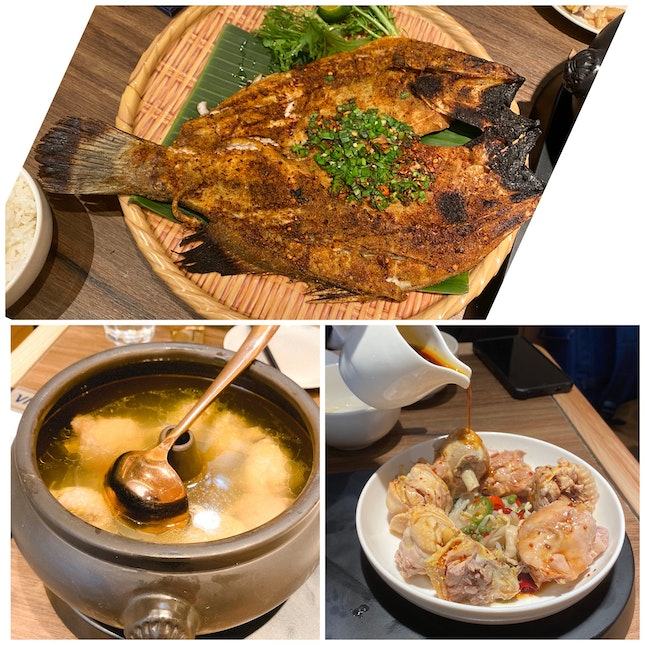 Steam Pot Chicken Soup and Grilled Seabass