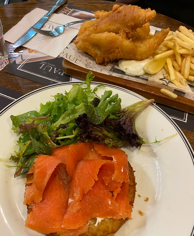 Rosti with Smoked Salmon and Fish and Chips
