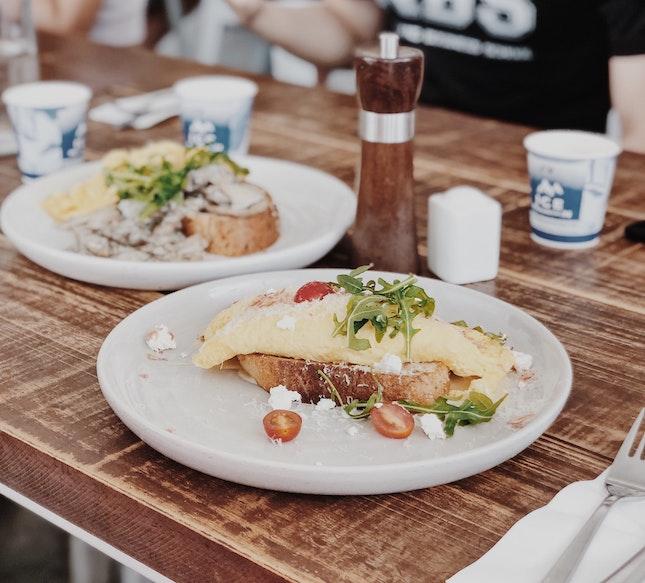 Prawn & Asparagus Omelette + Mushroom On Toast