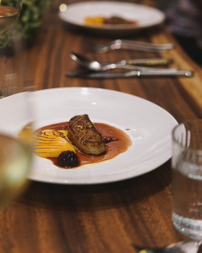 Roasted Foie Gras W Caramelised Mango, Pistachio Nuts & Mixed Berry Jus