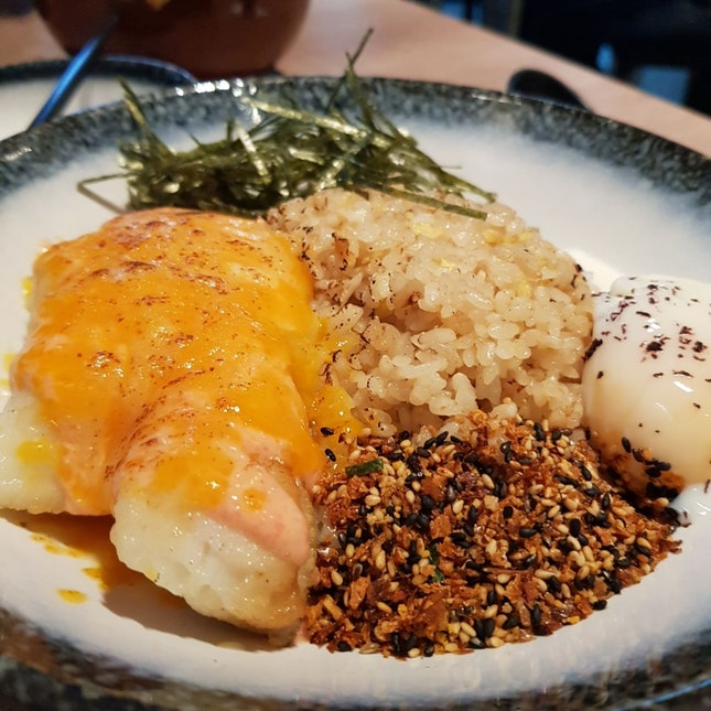 Mentaiko Cod Fish With Garlic Fried Rice