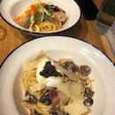 Truffle Carbonara And Grilled Salmon Aglio Oglio
