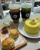 Matcha Latte, Early Grey Tea With Cake And Scones