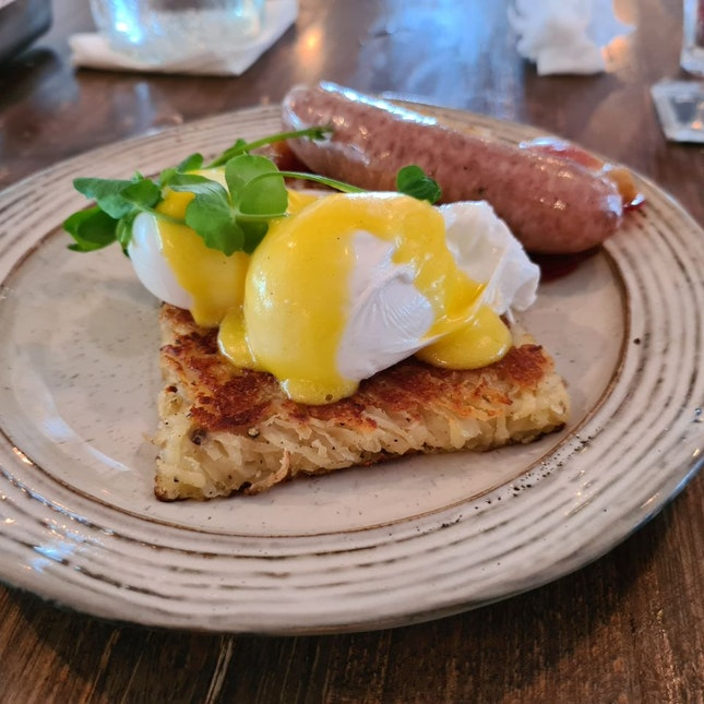 Homemade Rosti & Breakfast Sausages ($19)