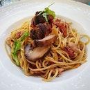 Spaghetti Aglio Olio with Crispy Pork Belly.