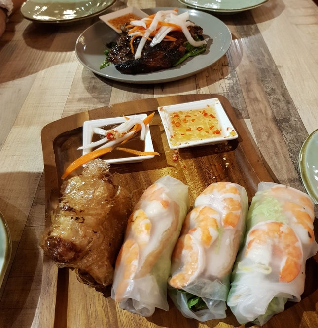 Spring Rolls And Chargrilled Berkshire Pork