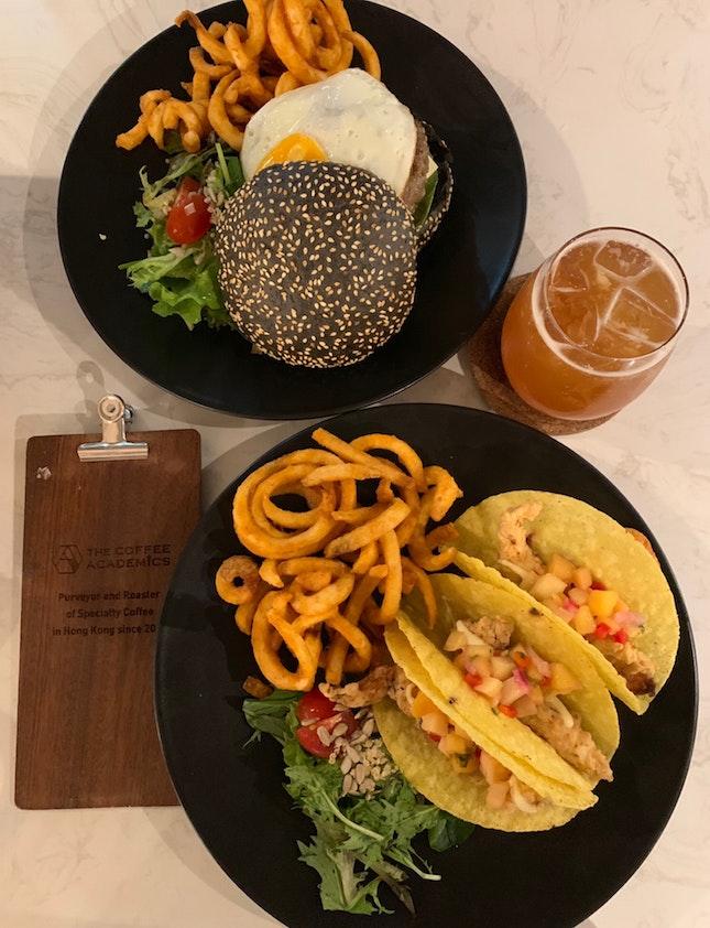 Fish Tacos & Beef Burger