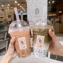 pu-er milk tea & hojicha fresh milk tea