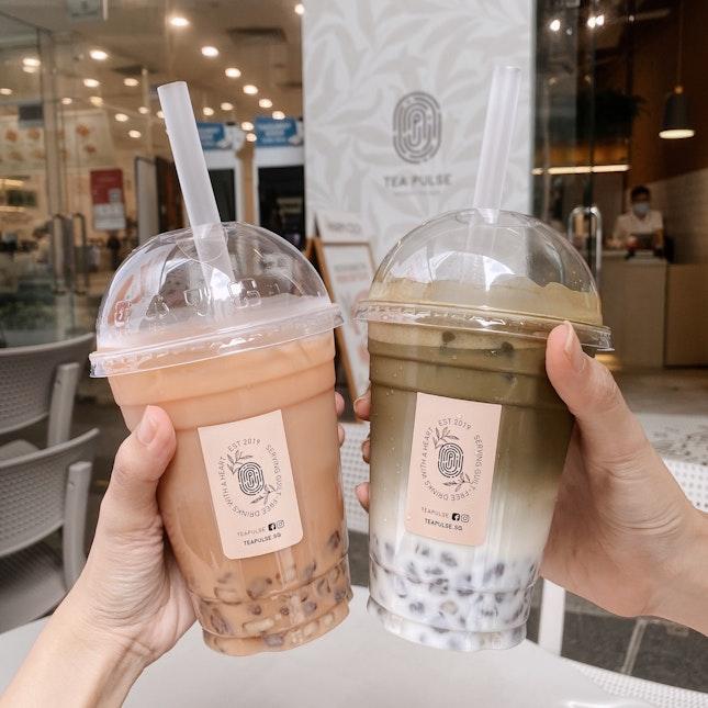 pu-er milk tea & hojicha fresh milk tea