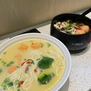 Healthy handmade noodles in pumpkin soup.