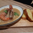 White pepper tiger prawns with French toast