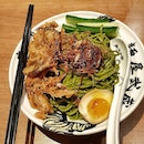 The Matcha Gomarich Soft Shell Crab Cold Noodle ~  Topped with crispy fried soft shell crab , fried shallots , omu egg , ajitsuke tamago, , Homemade matcha noodles that is surprising strong in matcha bitterness .