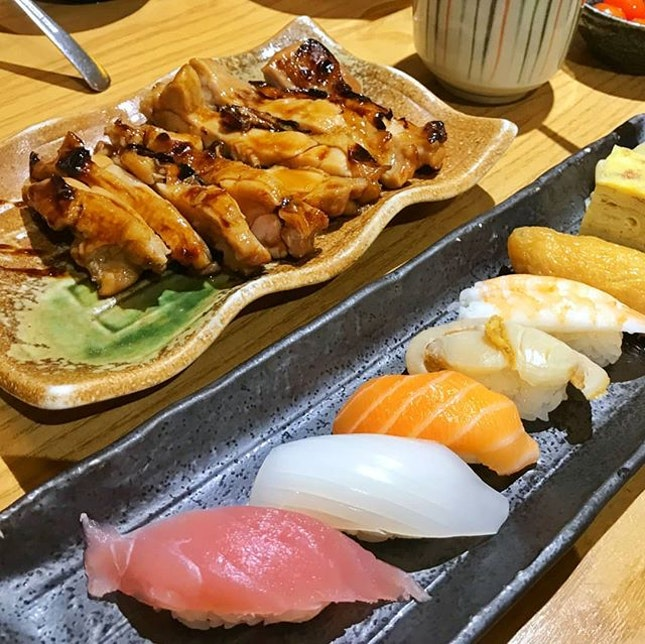 Chicken Teriyaki Zen with Sushi Set (S$24++) || @RakuzenSG .