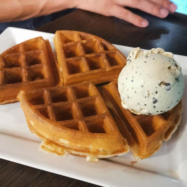 Waffles with Shy Green Nut Gelato