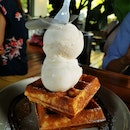 Waffles with Little White Rabbit Ice Cream & Honey Lemon Yuzu Sorbet