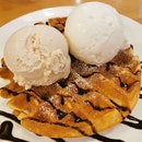 Waffles with Butterscotch Pecan & Coconut Ice Cream