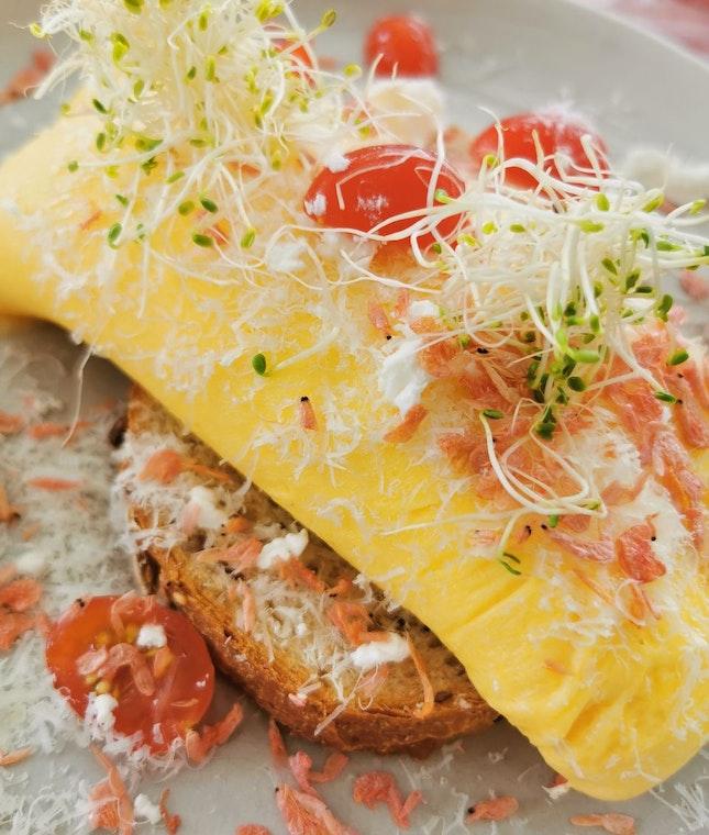 Prawn and Asparagus Omelette