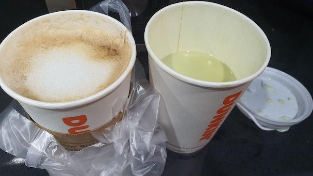 Matcha latte is half full