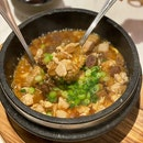 Stewed Rice with Minced Chicken, Dried Scallops, Baby Abalone and Liver Sausage in Stone Pot