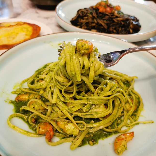 Prawn Basil Pesto Pasta