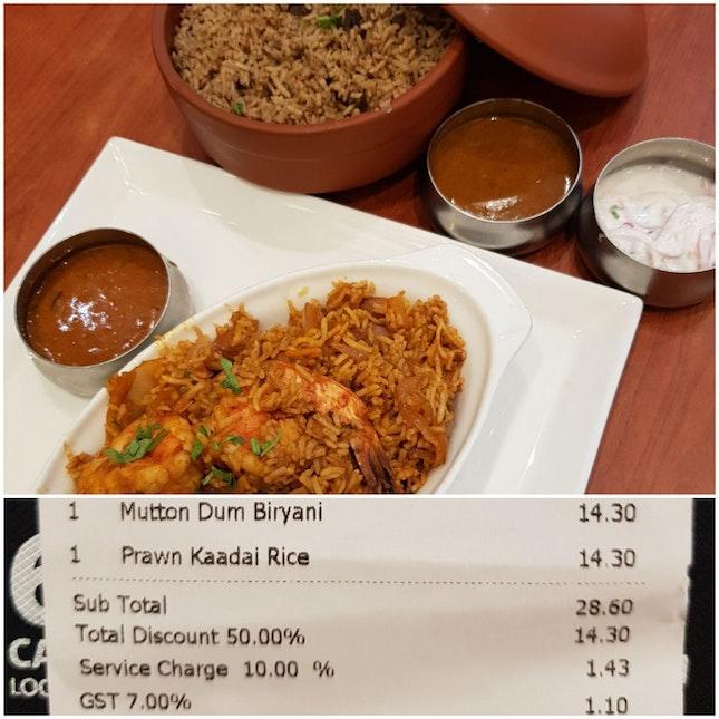 Mutton Dum Briyani And Prawn Kaadai Rice