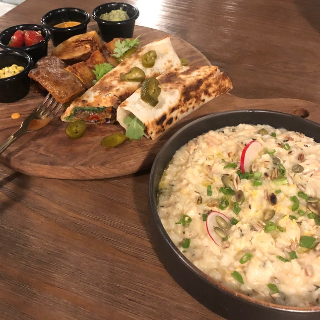 Mexican Vegan Fajitas Wrap ($18) + House Smoked Salmon Risotto