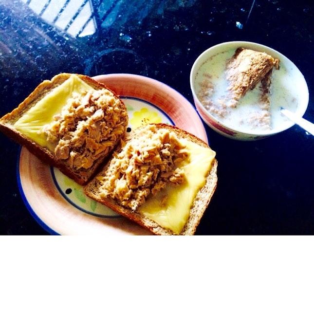Tuna Melt Sandwich + Cereal