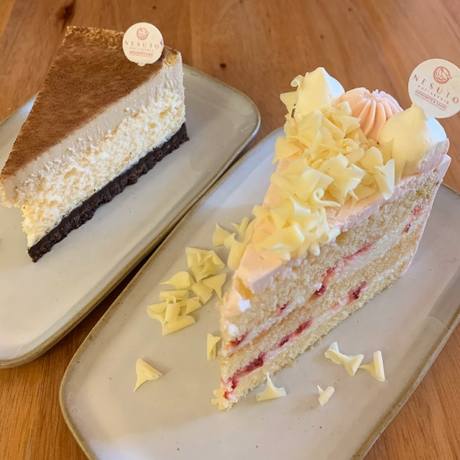 Yuzu Raspberry Cake + Salted Caramel Cheesecake