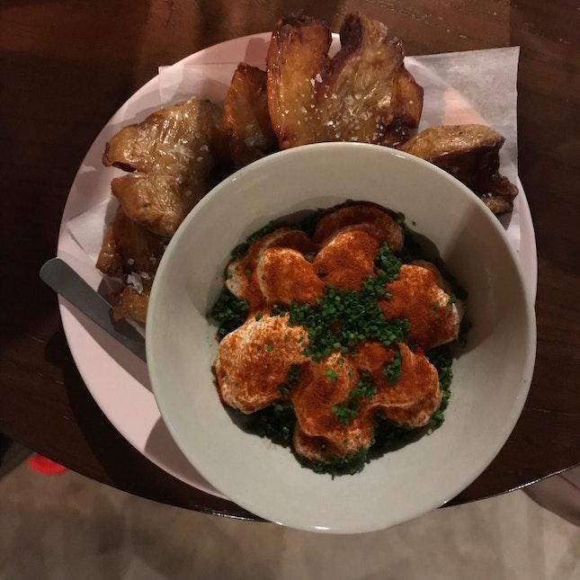 Grenouille potato tostones (w/ whipped smoked cheese & paprika)