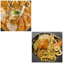 Seafood Marinara and Seafood Aglio Olio