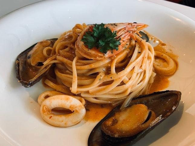 Tom Yum Seafood Pasta   $13.90
