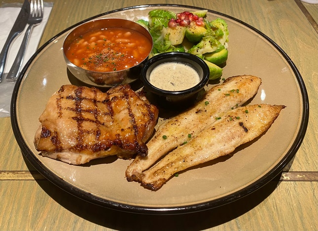 Char Grill Chicken Chop & Dory Fish | $17.9