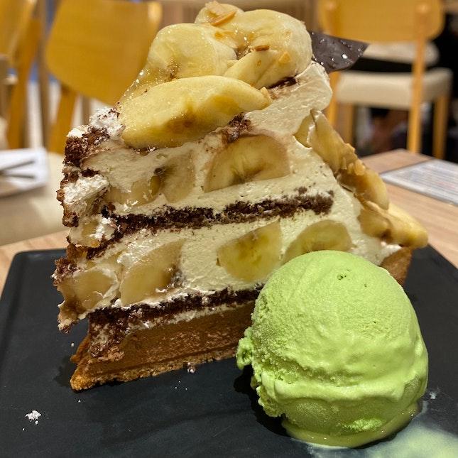 Chocolate Banana Tart + Matcha Ice Cream   $10.90