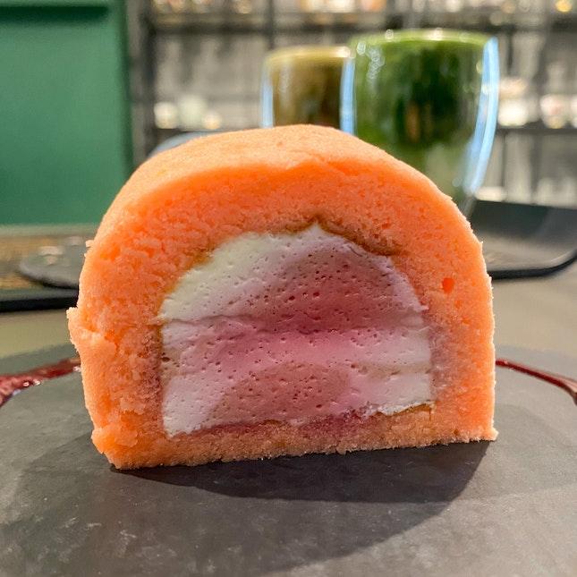 Raspberry Swirl Roll Cake   $6