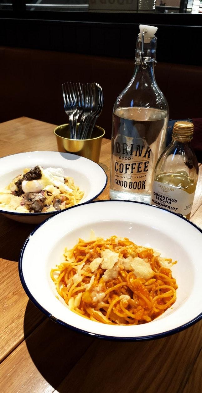 Truffle Carbonara & Spicy Pomodoro Crab Pasta