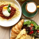 Brunch: Latte, Red Bolognese, Owls Breakfast