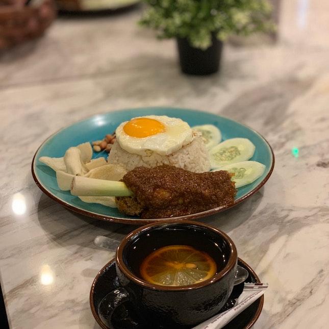 Signature Nasi Lemak Rendang Chicken.